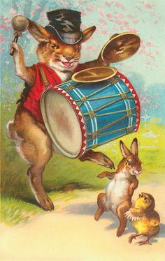 A rabbit playing the drum.