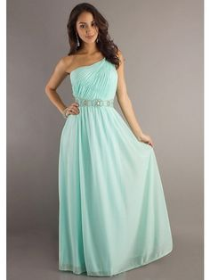 Prom Dresses,One-shoulder A-line Chiffon Floor-length Beaded Long Prom