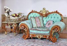 1 seater sofa Furniture Styles, Sofa Furniture, Blue Sofa Set, Royal Sofa, Luxury Home Furniture, Luxury Sofa, Baroque Fashion, Room Themes, Fabric Sofa