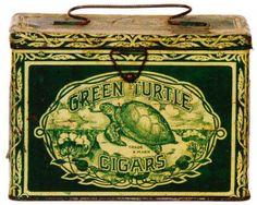 Green Turtle Cigar Tin Pail