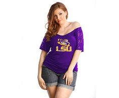 LSU+Tigers+Lace+Shoulder+Ladies'+Purple+Off+the+Shoulder+Shirt