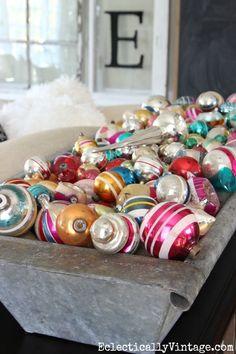 Vintage Shiny Brite ornament display - love them filling a huge zinc trough eclecticallyvintage.com