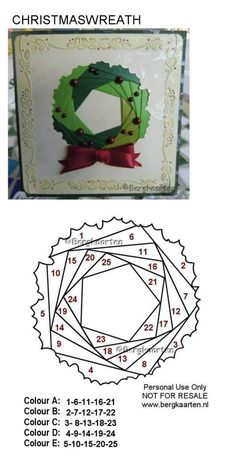 "** ""Christmas Wreath"" Iris Folding Pattern @bergkaarten"