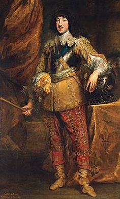 Gaston Jean-Baptiste de France (25 April 1608 – 2 February 1660), duc d'Orléans, and Louis XIII's brother.  He was Louis XIV's uncle, of course.  He only had daughters and was probably rather disappointed when his nephew was born, as he was no longer first in line in the succession.  Anthony van Dyck portrait of 1632 or 1634 (Musée Condé, Chantilly), just before his hopes were dashed with Louis' birth in 1638.