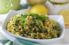 Spanakorizo (Spinach and Rice) - Greek style spinach and rice with dill and lemon; a classic one pot meal.