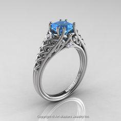 Engagement Ring Blue Diamond Princess 38