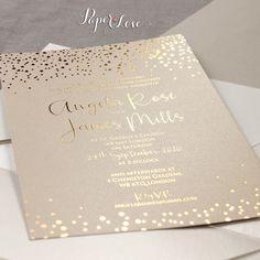 Hoja de oro personalizado confeti boda elegante invitación