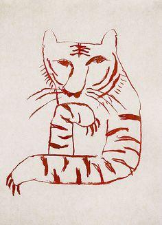 The tiger which takes notice by Tetsuhiro Wakabayashi Art And Illustration, Misaki Kawai, Wow Art, You Draw, Gravure, Clipart, Art Inspo, Line Art, Design Art