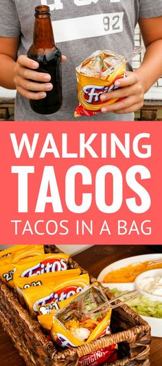 Walking Tacos Recipe -- Pinned over times! These little tacos in a bag are equally perfect for game day get togethers or busy school nights, even camping… So simple and easy to make! taco in a bag how to make walking tacos frito chili pie Taco In A Bag, Frito Chili, Frito Pie, Taco Bar Party, Chili Party, Party Drinks, Walking Tacos, Camping Meals, Camping Recipes
