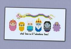 Adventure Time <br><br> This is a digital PDF file of a cross stitch pattern. You will need to have a PDF reader (like Adobe Reader) to view or print the pattern. The pattern includes:</br> - full color chart with symbols</br> - DMC and Anchor floss l