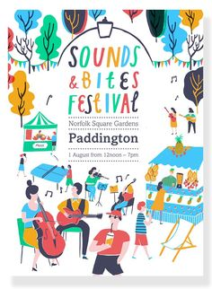 Tourist got in touch to commission me to create colourful, summery illustrations and hand drawn type for a festival poster. Sounds and Bites Festival was a one day food and music extravaganza, held in Norfolk Square Gardens, Paddington. Part of. Musikfestival Poster, Music Poster, Poster Layout, Poster Ideas, Creative Poster Design, Creative Posters, Graphic Design Posters, Graphic Design Inspiration, Cover Design