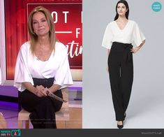 518a844e39c Kathie s white and black wrap jumpsuit on Today. Outfit Details  https   .  WornOnTV