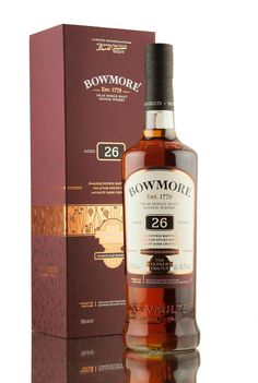 A 26 year old single malt Scotch whisky from Bowmore distillery, the second release in The Vinter's Trilogy series. Double matured, first for 13 years in ex-bourbon barrels, then a further 13 years maturation in French wine barriques. Rum Bottle, Whiskey Bottle, Bowmore Whisky, Single Malt Whisky, Bourbon Barrel, French Wine, Scotch Whiskey, Bottle Design, Distillery