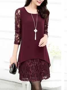 Buy Patchwork Hollow Out Solid Chiffon Lace Shift Dress online with cheap prices and discover fashion Shift Dresses at Fashionmia.com.