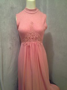 60s-70s Prom Dress Sleeveless Party Dress Knit Long Peach Size M