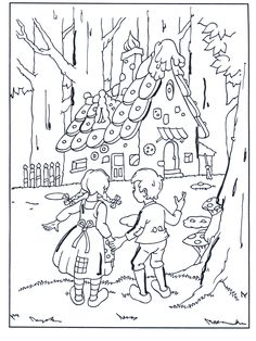 Hansel et Gretel CM, cycle 3 Coloring Pages For Grown Ups, Cartoon Coloring Pages, Coloring Book Pages, Coloring Pages For Kids, Adult Coloring, Hansel Y Gretel Cuento, Fairy Tale Projects, Baba Yaga, Free Printable Coloring Pages