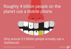 Did you know? Roughly 4 Billion people On The planet use a mobile phone, but only around 3.5 Billion people actually use a #toothbrush #teeth #oralcare #brushing #dentist