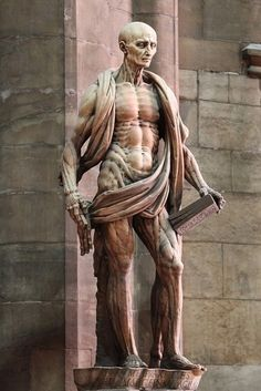 Statue of Saint Bartholomew, who was skinned-alive by the Romans for not renouncing his christian-faith. In this statue, the sculptor depicts Bartholomew with muscles, bones, and veins for all to see. Draped around his shoulders and waist is his own skin. Gardens Of Stone, Milan Cathedral, Early Christian, Christian Faith, Cemetery Art, British Museum, Metropolitan Museum, Dark Art, Art History