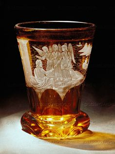 Glass tumbler (c 1850) - yellow mordant, white cut Abraham and the three angels: probably by Friedrich Egermann who invented the yellow mordant. From Bohemia   Judaica Collection Max Berger, Vienna, Austria