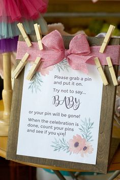 baby shower game ideas | clothes pin baby shower game