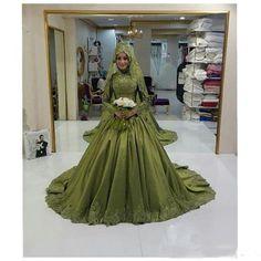 >> Click to Buy << Robe De Mariage 2017 Green Hijab Veil Muslim Wedding Dress Long Sleeve Saudi Arabia High Neck Wedding Dresses Vestido De Noiva  #Affiliate