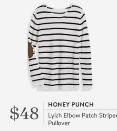 Stitch Fix August Most Lylah Elbow Patch Striped Pullover Fall Fashion Outfits, Look Fashion, Cool Outfits, Autumn Fashion, Fashion Ideas, Fashion Women, Fashion Trends, Elbow Patch Sweater, Elbow Patches