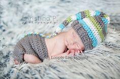 Baby Boy Hat Newborn Photo Prop  Stocking Hat by LooptyLooDesigns, $39.00