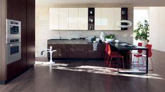 Scavolini Italian Design: Kitchens Bathrooms and Living Room Condo Kitchen, Modern Kitchen Cabinets, Modern Kitchen Design, Living Room Kitchen, Interior Design Kitchen, Kitchen Remodel, Kitchen Designs, Scavolini Kitchens, Italian Interior Design
