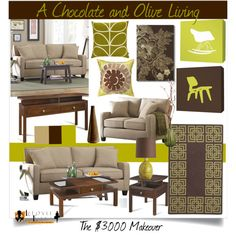 "Chocolate brown + olive green for home: ""Chocolate and Olive Living"" by ceeceelafoyle on Polyvore"