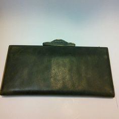 Fossil Army Green Clutch Wallet Never used genuine leather wallet with ample compartments for cards. Fossil Bags Wallets