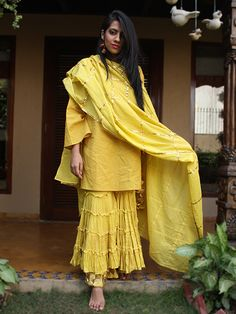 Yellow Cotton Sharara Set with Dupatta - 3 Piece Set