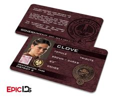 """The Hunger Games Inspired Panem District 2 """"Clove"""" Identification Card"""