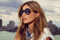 by Nino Munoz - gisele-bundchen-colcci-eyewear - Gisele Bundchen Online Gisele Bundchen, Rectangle Face, Vogue, Eyewear, Spring Summer 2016, Fashion Models, Round Sunglasses, Actresses, Long Hair Styles