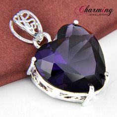 Romantic-Heart-Sweet-Purple-Amethyst-Gems-Silver-Necklace-Pendant-1-3-8-034