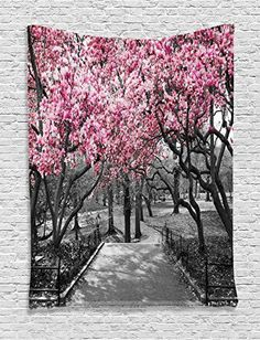 I love the look of pink wall art.  In fact, pink wall decorations are crazy popular these days.  You can bet that interior designers agree that no matter if it is light pink or dark pink shades.  Pink is a really cute color to decorate your home with.  Especially true for bedrooms, living rooms and kids rooms.  Pink paiAmbesonne NYC Decor Collection, Blossoms In Central Park Cherry Bloom Trees Forest Spring Springtime Landscape Picture, Bedroom Living Room Dorm Wall Hanging Tapestry, Pink…