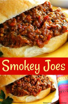 Smokey Joes - These smokey joes are barbecue sloppy joes. When you're thinking about gourmet dishes, sloppy joes probably don't come to mind. Homemade Sloppy Joe Recipe, Homemade Sloppy Joes, Sloppy Joes Recipe, Hamburger Dishes, Beef Dishes, Hamburger Recipes, Meat Dish, Smokey Joe, Tacos