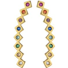 gorjana Ryder Shimmer Ear Climber (Rainbow Mix/Gold) Earring ($55) ❤ liked on Polyvore featuring jewelry, earrings, ear climber earrings, 18 karat gold jewelry, gold hook earrings, yellow gold earrings and 18 karat gold earrings