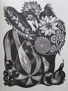 "John Nash (British, 1893-1977). From the book ""Flowers and Faces"" by H.E. Bates, published by the Golden Cockerel Press, 1935. (wood engraving)"