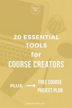 Are you thinking of creating an online course? Does the tech stuff scare you? Confused about the tools needed to develop your course? Here are 20 essential tools for creating your next course! -- #coursecreators #onlinecourses #onlinecoursetools #courseprojectplan