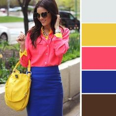 Putting together a hot pink dress shirt with a blue pencil skirt is an on-point option for a seriously stylish and polished getup. Fashion Colours, Love Fashion, Womens Fashion, Fashion Trends, Gypsy Fashion, Looks Style, My Style, Boho Style, Boho Chic