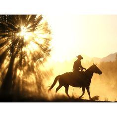 Cowboy on horse in sunset ❤ liked on Polyvore