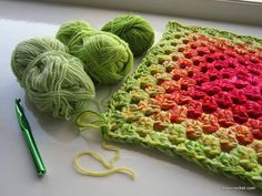 Graduated Granny - 3 strands at once, swap out one strand per row to get graduated colour