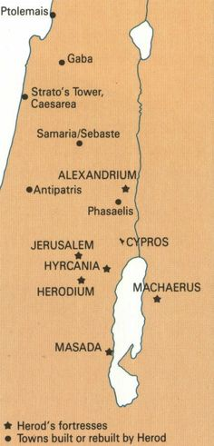 HEROD'S FORTRESSES - Map showing the locations of Herodian fortresses. Mystery of History Volume 1, Lesson 99 #MOHI99
