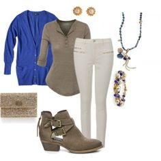 """10-03-2014 Thursday """"Blauw vest / taupe shirt"""" by kaatje60 on Polyvore"""