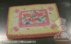 Social0172   Baby Shower Cake   Custom photo with pink buttercream baby booties.