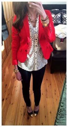 Black and white polka dots with a red blazer and gold accessories. Fall work outfit business casual