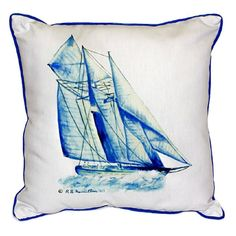 Betsy Drake Blue Sailboat Multicolored Polyester Indoor/Outdoor Throw Pillow (Blue Sailboat Indoor/Outdoor Pillow 20x24), Multi