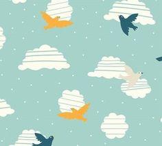 Birds in Flight Every Party - Birch         Kwaliteit normaal katoen, organisch katoen   Stofbreedte 110 cm   Achtergrondkleur skyblue   Motief grootte ...