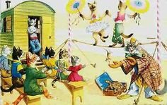 Cats Eugen Hartung Artist Signed Mainzer Dressed Cats Walk Tight Rope Postcard - Moodys Vintage Postcards - 1