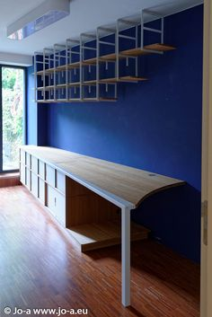 Custom desk,storage units and hanging bookcase #design #office #furniture